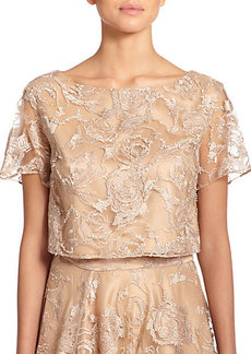 Kay Unger Embroidered Tulle Cropped Top