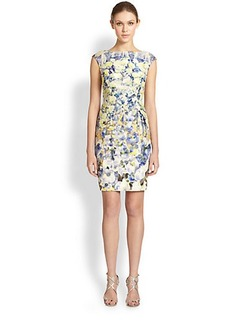 Kay Unger Floral Boatneck Dress