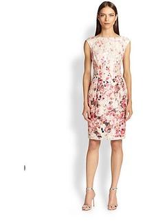 Kay Unger Floral Boatneck Dress