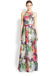 Kay Unger Floral Halter Ball Gown