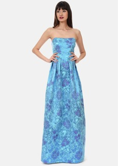 Kay Unger Floral Jacquard Ballgown