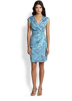 Kay Unger Floral-Jacquard Dress
