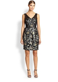 Kay Unger Floral Jacquard Dress