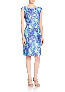 Kay Unger Floral Jacquard Sheath Dress
