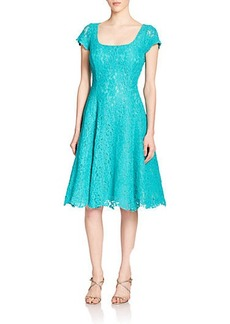 Kay Unger Floral Lace Fit-And-Flare Dress