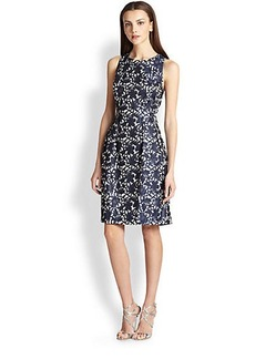 Kay Unger Floral Open-Back Jacquard Dress