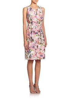 Kay Unger Floral-Print Jacquard Sheath Dress