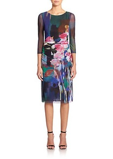 Kay Unger Floral-Print Mesh Dress