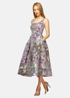 Kay Unger Floral Print Midi Fit & Flare Dress