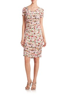 Kay Unger Floral-Print Tucked Jersey Sheath Dress