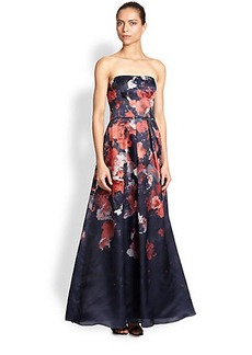 Kay Unger Floral Strapless Gown