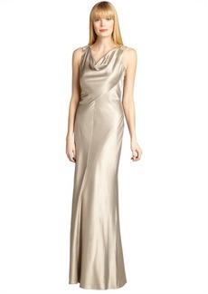 Kay Unger gold satin cowl neck sleeveless embellished back gown
