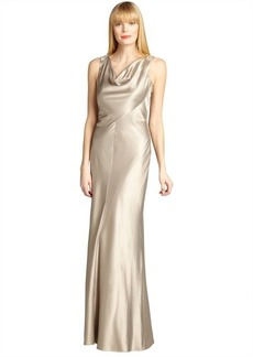 Kay Unger gold satin cowl neck sleeveless embellished back gown