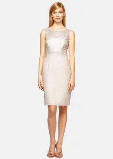 Kay Unger Illusion Lace & Tweed Sheath Dress