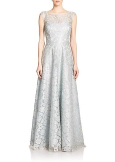 Kay Unger Illusion Lace Pleated Gown