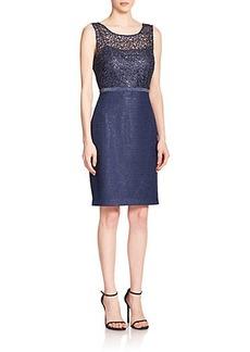 Kay Unger Illusion Metallic Lace Sheath Dress