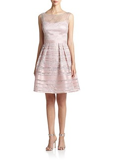 Kay Unger Illusion Striped Cocktail Dress