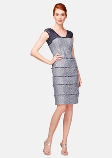Kay Unger Lace & Jacquard Sheath Dress