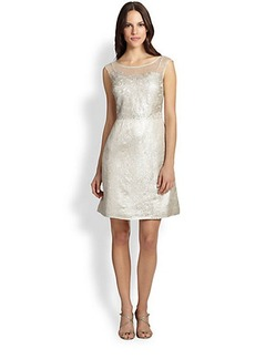 Kay Unger Lace-Bodice Jacquard Dress