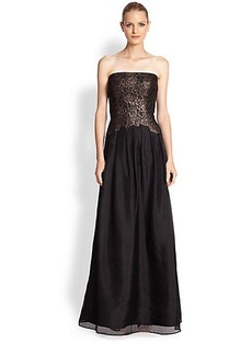 Kay Unger Lace-Bodice Strapless Silk Gown