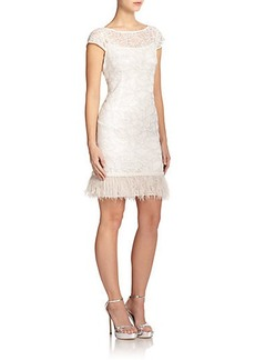 Kay Unger Lace Cap-Sleeve Dress