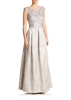 Kay Unger Lace-Detail A-Line Gown