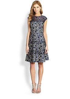 Kay Unger Lace Fit-&-Flare Dress