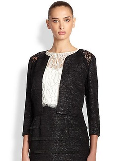 Kay Unger Lace-Inset Tweed Jacket