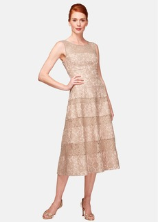 Kay Unger Lace Midi Dress