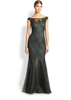 Kay Unger Lace Off-Shoulder Gown