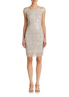 Kay Unger Lace Off-The-Shoulder Dress