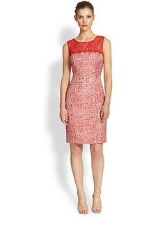 Kay Unger Lace-Trim Tweed Dress