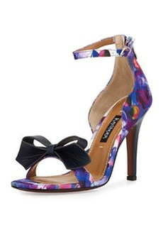 Kay Unger Marlee Floral-Print Bow Sandal, Floral Ombre