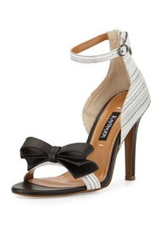 Kay Unger Marlee Striped Leather Bow Sandal, Black/White