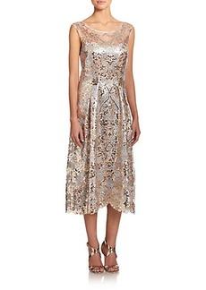 Kay Unger Metallic Cap-Sleeve Cocktail Dress