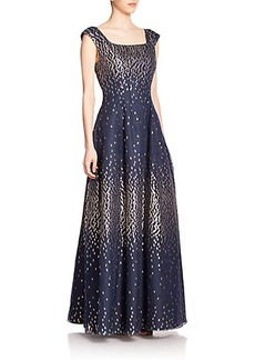 Kay Unger Metallic-Dot Pleated Gown