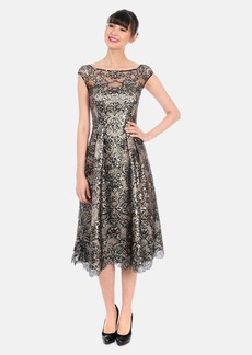 Kay Unger Metallic Jacquard & Lace Midi Dress