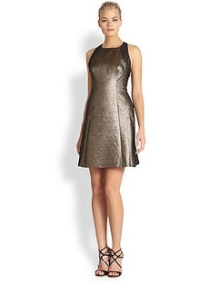 Kay Unger Metallic Jacquard Dress