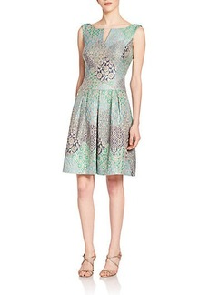 Kay Unger Metallic Jacquard Fit-and-Flare Dress