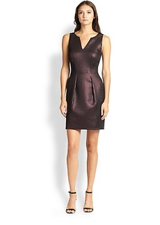 Kay Unger Metallic Jacquard Lace-Detail Dress