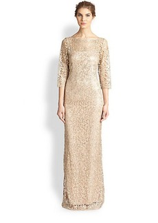 Kay Unger Metallic Lace & Sequin Gown