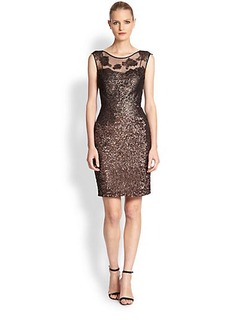 Kay Unger Metallic Lace & Sequined Dress