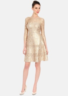 Kay Unger Metallic Lace Fit & Flare Dress