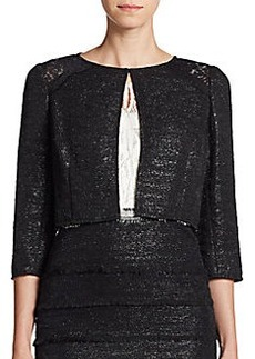 Kay Unger Metallic Lace-Inset Cropped Jacket