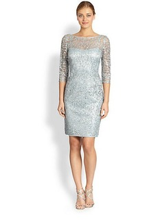 Kay Unger Metallic Lace Sheath Dress