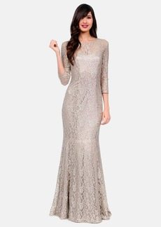 Kay Unger Metallic Lace Trumpet Gown