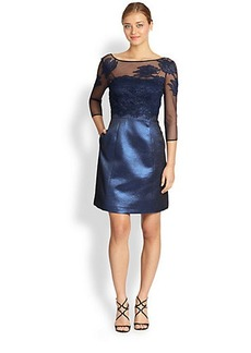 Kay Unger Metallic Mixed-Media Cocktail Dress