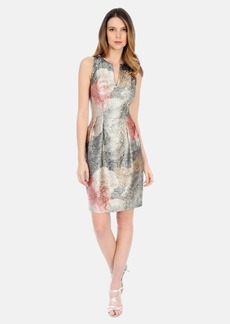 Kay Unger Metallic Sleeveless Pleated Dress