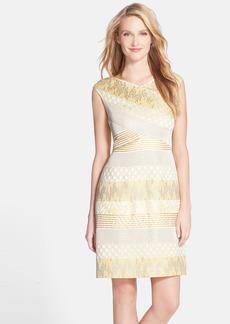 Kay Unger Metallic Stripe Jacquard Sheath Dress