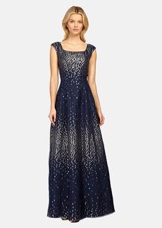 Kay Unger Metallic Taffeta Gown